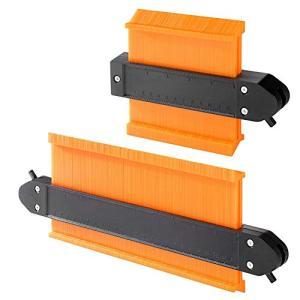 型取りゲージ セルフロック式 コンターゲージ 幅広 高精度 曲線定規 DIY用測定工具 輪郭コピー 不規則な測定器 ABS目盛付き(オレンジ) merock