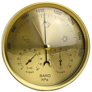 OUNONA 地学・気象 アネロイド式 気圧計 温度湿度計 精密 ステンレス 掛け アナログ 天気予報 警報 屋内・屋外用 (図示のとおり L) merock