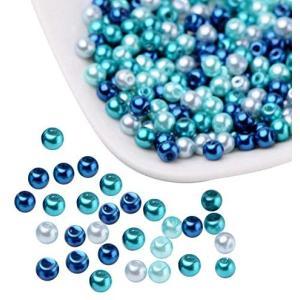 PandaHall ミックス 約400個セット 小さな サテン 光沢 ガラス パール Mix ビーズ ラウンド 丸玉 手作り用品 DIY用 4mm|merock