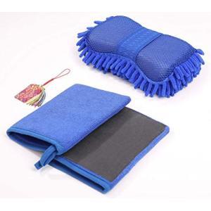 洗車 用 グローブ 3点セット(鉄粉除去 用 2点 / スポンジ 1点)お守付 水垢 汚れ マイクロファイバー タオル クロス|merock