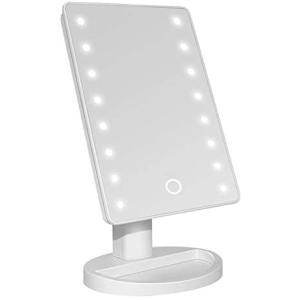 化粧鏡 化粧ミラー 鏡 女優ミラー 16LEDライト付き 卓上 スタンドミラ 無段階調光 USB 電池2way給電 角度170°調整可能 merock