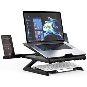 折りたたみ式 ノートパソコンスタンド タブレットスタンド高さ調整・9段階角度調整 ・スマホ/キーボード収納姿勢改善 腰痛/猫背対策 (ブラック) merock