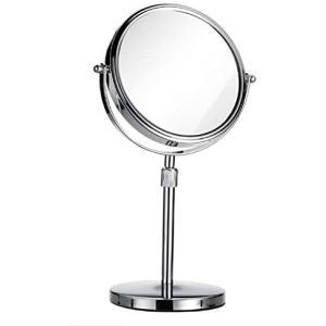 ヨーロピアンスタイルシンプルなスタイル HD両面ミラー 3倍拡大鏡 360度回転 高さ調節可能 とても太い*+フレーム (銀 ミラー径20cm) merock