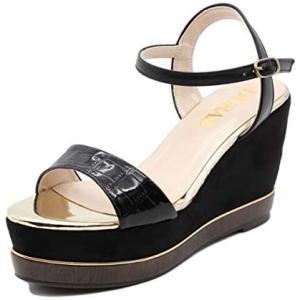 [デュラス] サンダル レディース 靴 ストラップ ウェッジ クロコ調 型押し ウッド調 美脚 脚長 黒 歩きやすい 疲れにくい(ブラック M)|merock