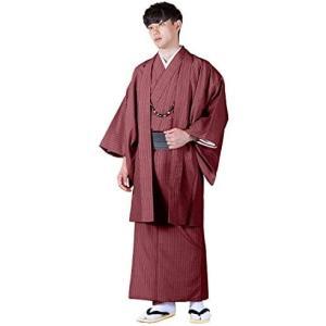 [キョウエツ] 着物セット 洗える 着物 2点セット(袷着物、羽織) 縞柄 和服 メンズ (レッド M)|merock