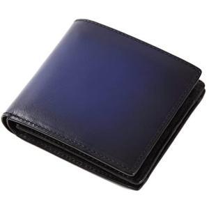 (ラファエロ) Raffaello 一流の革職人が作る スフマート製法で仕立てたメンズ二つ折財布 (アズールブルー) merock