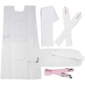 華みち 浴衣小物 6点セット 着付け 前板 マジックベルト 着物ベルト 腰ひも2本 ホワイト (ホワイト)|merock
