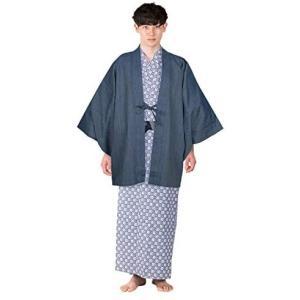 [キョウエツ] 旅館浴衣セット 4点セット(羽織、旅館浴衣、帯、共紐) メンズ (羽織-青 浴衣-145)|merock