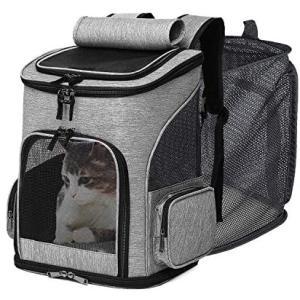 Wooce 猫キャリー バッグ ペットキャリーバッグ ペットバッグ リュック ペットハウスリュック 拡張可能 折りたたみ可 猫 犬 (Black)|merock