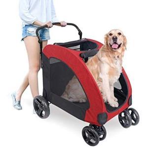 ペットカート 犬用 キャリーカート ペットバギー 折りたたみ式 大型犬 多頭中小型犬 犬用 猫用 ドッグカート-レッド (307 型) (レッド)|merock