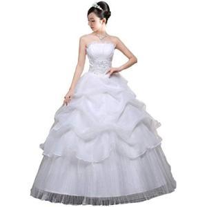(アンダブル) AnW ウェディング ドレス 二次会 プリンセス ビスチェ 肩 出し ウエディング 結婚式 (5.S + パニエ)|merock