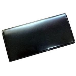 新喜皮革社製のコードバンを贅沢に一枚革使用!コードバン(馬尻革)×本ヌメ革 小銭入れ付長財布 (ブラック)|merock