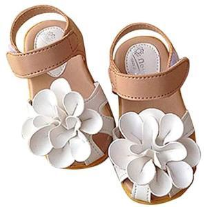 RanForest サンダル 履きやすい キッズサンダル 女の子 ビーチサンダル フラワー ガールズ シューズ (ホワイト 15.5 cm)|merock