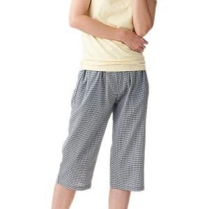 セルヴァン 高島ちぢみ ポケット付ゆったりステテコ 女性用 千鳥格子 3L (千鳥格子 3L)|merock