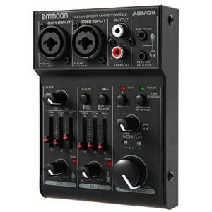 ammoon 2チャンネル ミキシングコンソール サウンドカード ミニ デジタルオーディオミキサー 2バンドEQ内蔵 (AGM02)|merock