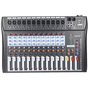 ammoon 12チャンネル ミキサー ミキシングコンソール マイク・オーディオ 3バンドEQ USB (120S-USB)|merock