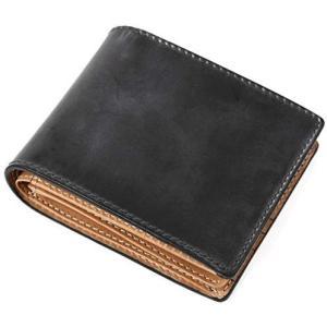 [ラファエロ] ブライドルレザー 二つ折り財布 メンズ (ロイヤルブラック One Size) merock