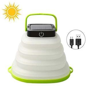 キャンプランタンLED 携帯型 折り畳み式ソーラランタン USB充電 テントライト IP67防水 LEDライト 防災対策 登山 (Small)|merock
