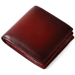 (ラファエロ) Raffaello 一流の革職人が作る スフマート製法で仕立てたメンズ二つ折財布 (ダークワイン) merock
