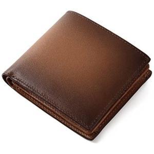 (ラファエロ) Raffaello 一流の革職人が作る スフマート製法で仕立てたメンズ二つ折財布 (チョコ) merock