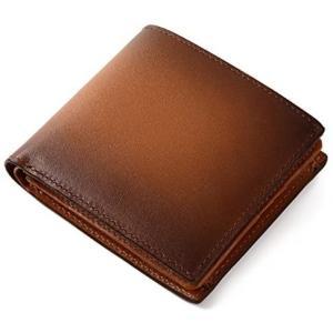 (ラファエロ) Raffaello 一流の革職人が作る スフマート製法で仕立てたメンズ二つ折財布 (ロイヤルブラウン) merock