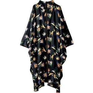 ワールドパーティー(Wpc.) キウ(KiU) レインポンチョ 南国花鳥 ブラック cm [KiU RAIN (南国花鳥ブラック FREE)|merock