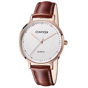 Comtex 腕時計 レディース 赤褐色 レッドブラウン ホワイト 革バンド アナログ表示 日本製クオーツ ウオッチ 女性時計 (赤褐色)|merock