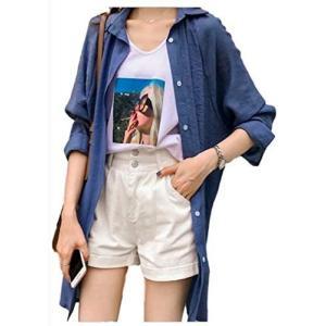 [アンリ] ロングシャツ シャツ ワンピース オーバーサイズ とろみ ゆったり 薄手 透け感 羽織もの M  XL レディース(ブルー XL)|merock