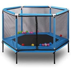 SUNHOO トランポリン 子供用 室内用トランポリン キッズランド ジョイントマット室内遊具 安全設計 持ち運び 耐荷重100kg (青)|merock