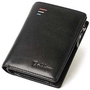 Bokkow 財布 メンズ 二つ折り 財布 縦型 二つ折り メンズ 財布 本革 (ブラック)|merock