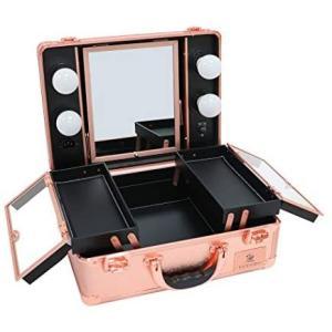 LUVODI メイクボックス プロ用 鏡付き 鏡台 LEDライト付き 卓上 ドレッサー 化粧台 大容量 調光機能付き 旅行 (ローズゴールド) merock