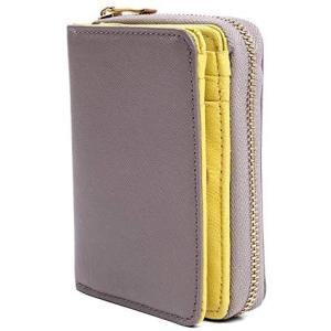 MURA 財布 レディース 二つ折り 本革 山羊レザー やわらかめ (グレー/イエロー)|merock