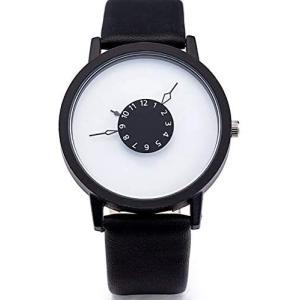 ZooooM 腕 時計 LITERAL SIMPLE シンプル ファッション アクセサリー 内側 針 おもしろ カジュアル 男(ブラック/ホワイト)|merock