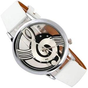 ZooooM 腕 時計 NOTE MUSIC 文字盤 音符 スケルトン ユニーク デザイン ファッション アクセサリー カジュアル (ホワイト)|merock