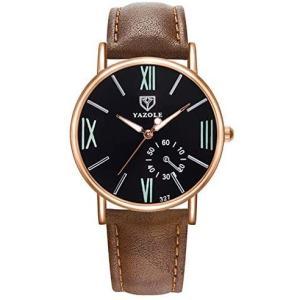 ZooooM クロノグラフ ラウンド デザイン アナログ 腕 時計 フェイク レザー ベルト ファッション アクセサリー フォーマル (ブラック)|merock