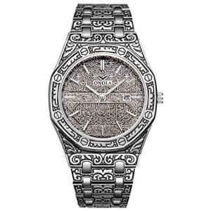 RORIOS 腕時計 メンズ おしゃれ 彫刻プロセス クラシック レトロ風 日付 生活防水 ステンレスバンド クオーツ 時計 アナログ (グレー)|merock