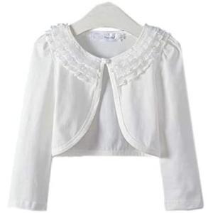 Aduniキッズ ボレロ 白 長袖 子供服 レース ボレロ カーディガン 女の子 羽織 薄手 綿 フォーマル 発表会 (ビーズ 付き 130)|merock