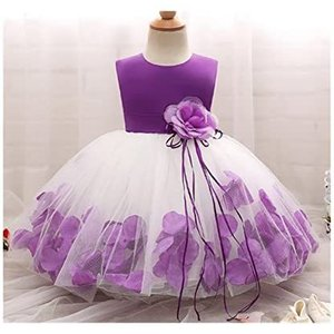 Candykids キッズドレス 花飾り 花びら 子供フォーマル 子供ドレス ワンピース (パープル2 140) merock