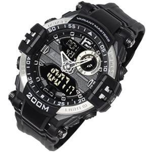 [ラドウェザー] 腕時計 メンズ 水に強い200m防水なのでサーフィンやマリンスポーツで使える アナログ & デジタル ウォッチ (シルバー)|merock