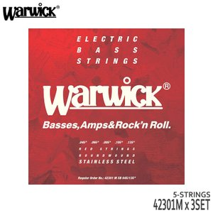5弦ベース弦 ワーウィック 45-135 42301M 3set ミディアム ステンレス弦 Warwick|merry-net