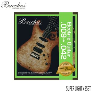 エレキギター弦 バッカス スーパーライト 09-42 3セット Bacchus エレキ弦 小型便対応...