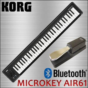 KORG microkey AIR 61 サスティンペダル付き USB・ワイヤレス両対応 61鍵MIDIキーボード|merry-net