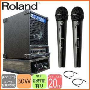 ワイヤレス受信機収納ラック付き ハンドワイヤレス2本 スピーカーセット Roland出力30Wアンプ|merry-net