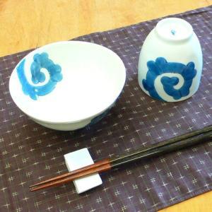 【母の日 父の日】紺唐草 飯碗&湯呑みセット(青)|merusa
