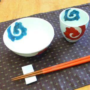 【母の日 父の日】紺唐草 飯碗&湯呑みセット(赤)|merusa