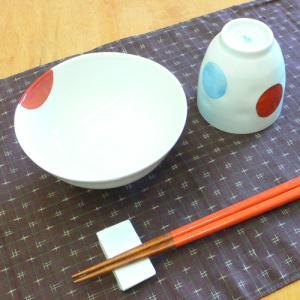 【母の日 父の日】二色丸紋 飯碗&湯呑みセット(赤)|merusa