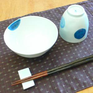 【母の日 父の日】二色丸紋 飯碗&湯呑みセット(青)|merusa