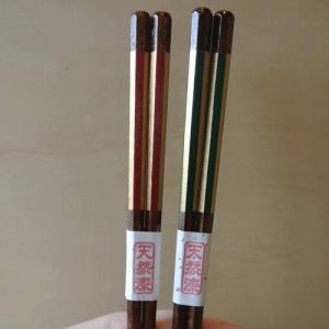 【父の日・母の日】 箸 ストライプ 金箔 赤 緑|merusa