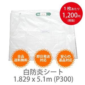 【10枚セット】白防炎シート 1.829 x 5.1m (P300) インチサイズ|meshsheet