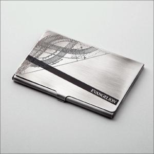 エヴァンゲリオン・カードケース[シンクロ・シルバーエイジング] 金属製/銀古美仕上げ/名刺入れ/シンクロパターン|metaledit